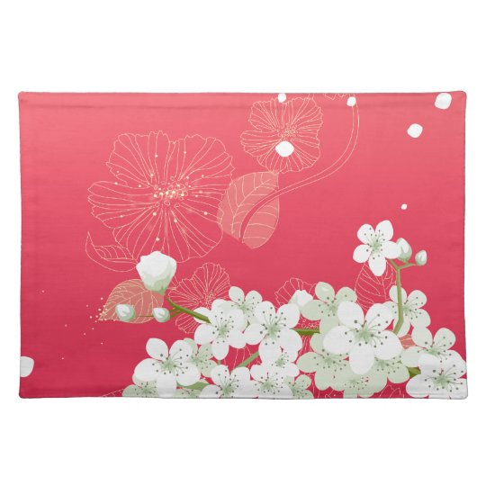 White cherry blossoms cloth placemat