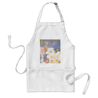 White Cherry Blossoms Digital Watercolor Painting Apron
