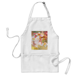 White Cherry Blossoms Digital Watercolor Painting Aprons