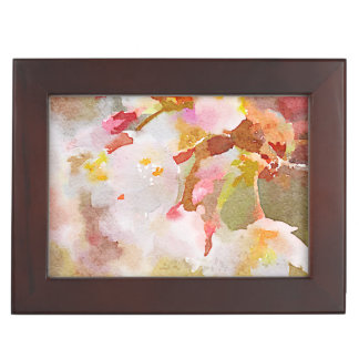 White Cherry Blossoms Digital Watercolor Painting Memory Box