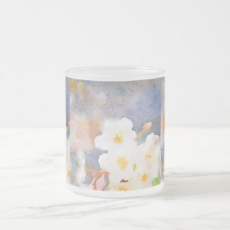 White Cherry Blossoms Digital Watercolor Painting 10 Oz Frosted Glass Coffee Mug