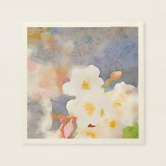 White Cherry Blossoms Digital Watercolor Painting Standard Cocktail Napkin