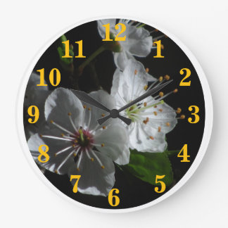 White Cherry Blossoms Flowers Large Clock