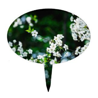 White Cherry Blossoms Green Leaves Cake Topper