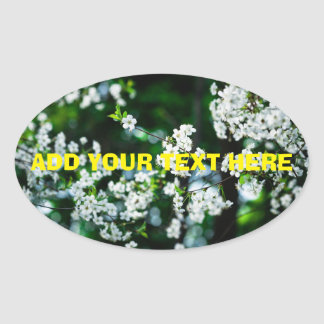 White Cherry Blossoms Green Leaves Oval Sticker