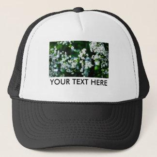 White Cherry Blossoms Green Leaves Trucker Hat
