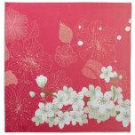 White cherry blossoms napkin