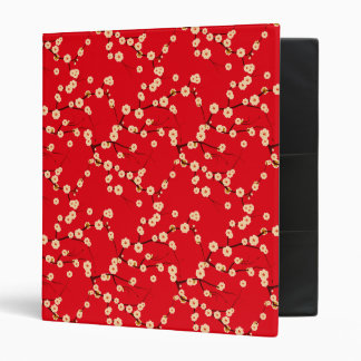 White Cherry Blossoms on Red 3 Ring Binder