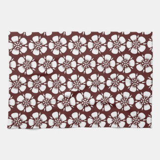 White Cherry Blossoms on Red Kitchen Towel