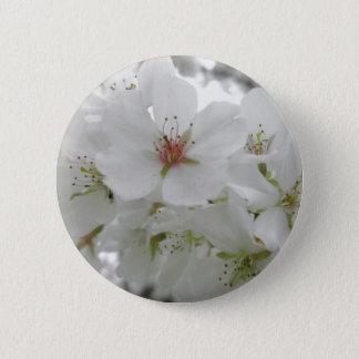 White Cherry Blossoms Photo Button
