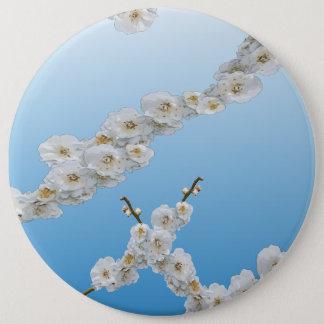 White Cherry Blossoms Pinback Button