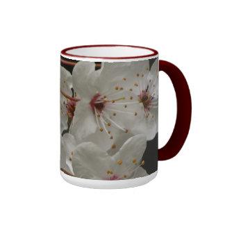 White Cherry Blossoms Ringer Mug