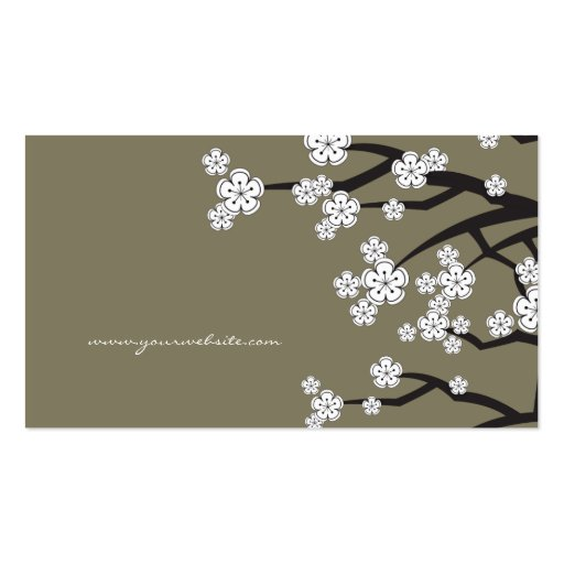 White Cherry Blossoms Sakura Spring Flowers Branch Business Cards (back side)