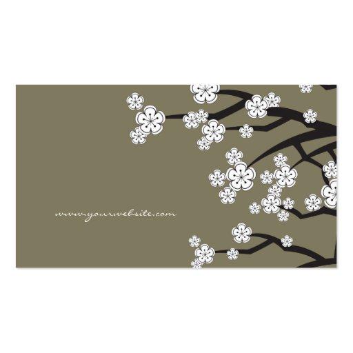 White Cherry Blossoms Sakura Spring Flowers Branch Business Cards (back side)