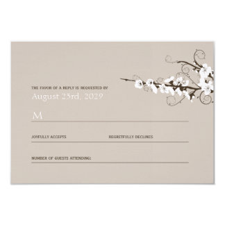 White Cherry Blossoms Sakura Swirls Wedding RSVP Card