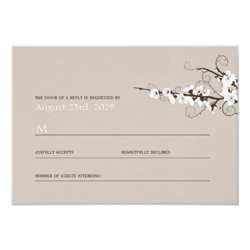 White Cherry Blossoms Sakura Swirls Wedding RSVP Invitation