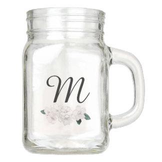 * White Cherry Blossoms with Monogram Mason Jar