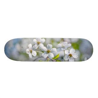White Cherry Flower Skateboard Deck