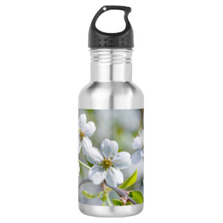 White Cherry Flower Water Bottle