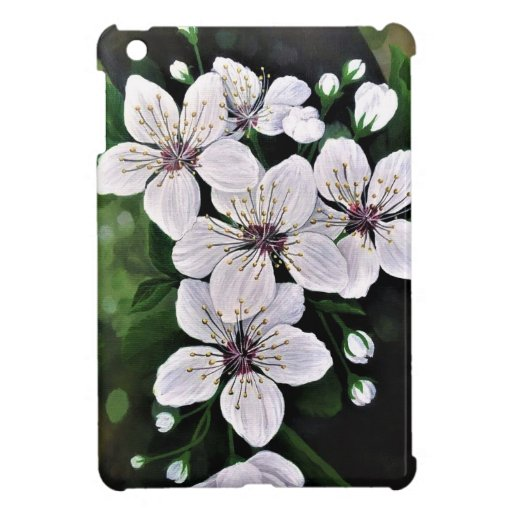White Cherry Flowers In Acrylic Case For The iPad Mini