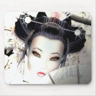 White Cherry Geisha Mouse Pad