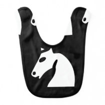 White chess horse on black baby bib