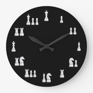 White Chess Pieces Clock