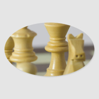 White chess pieces oval sticker
