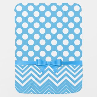 White Chevron And Polka Dot And Blue Ribbon Receiving Blanket
