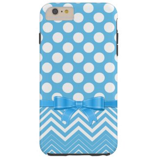 White Chevron And Polka Dot On A Blue Background Tough iPhone 6 Plus Case