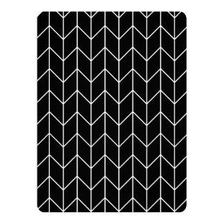 White Chevron Black Background Modern Chic 6.5x8.75 Paper Invitation Card