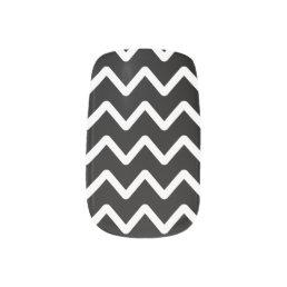 White Chevron on Black Minx Nail Wraps
