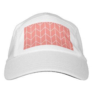 White Chevron on Coral Pink Modern Chic Hat