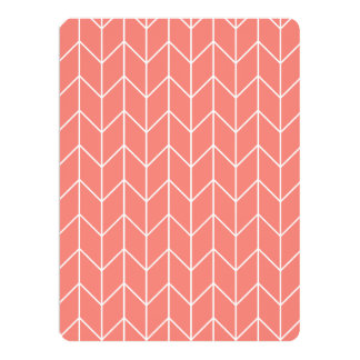 White Chevron on Coral Pink Modern Chic Invitation