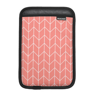 White Chevron on Coral Pink Modern Chic Sleeve For iPad Mini