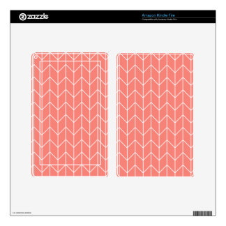 White Chevron on Coral Pink Modern Chic Decal For Kindle Fire