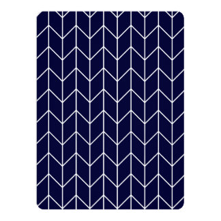 White Chevron on Navy Blue Modern Chic Personalized Announcement Card