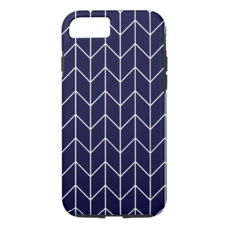 White Chevron on Navy Blue Modern Chic iPhone 7 Case