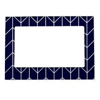 White Chevron on Navy Blue Modern Chic Photo Frame Magnets