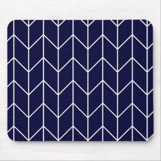 White Chevron on Navy Blue Modern Chic Mouse Pad