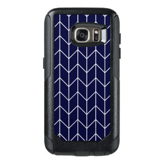 White Chevron on Navy Blue Modern Chic OtterBox Samsung Galaxy S7 Case
