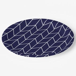 White Chevron on Navy Blue Modern Chic Paper Plate