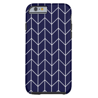 White Chevron on Navy Blue Modern Chic Tough iPhone 6 Case