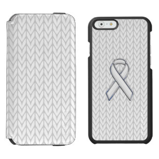 White Chevrons Knit Ribbon Awareness Print iPhone 6/6s Wallet Case