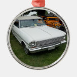 white chevy 1963 nova with chrome front view ornaments