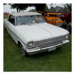 white chevy 1963 nova with chrome front view posters