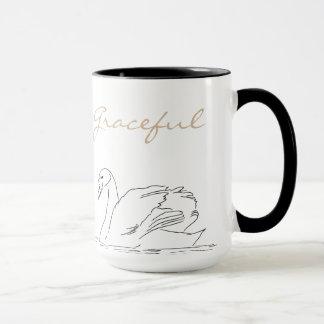 White chic ballerina swan elegant coffee mug