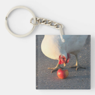 White Chicken and Apple Single-Sided Square Acrylic Keychain