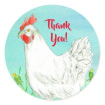 White Chicken Bird Thank You Classic Round Sticker