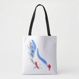 White chicken. Calligraphy and watercolor Tote Bag